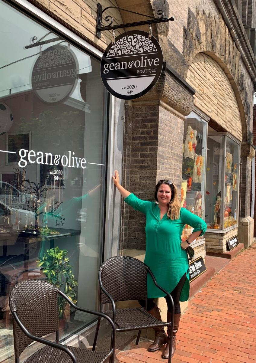 Owner Chelsea Stuck stands at the gean & olive storefront at 204 E. Alder St., Oakland.